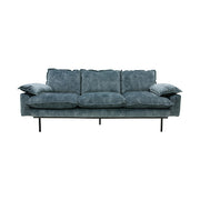 Retro Sofa 3 Seats Vintage Velvet Petrol Blue - House of Orange