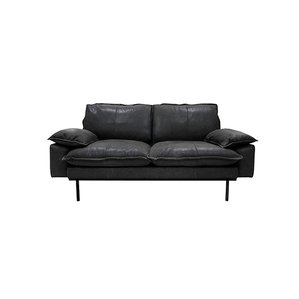 Retro Sofa 2 Seats Leather Black