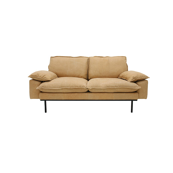 Retro Sofa 2 Seats Leather Natural