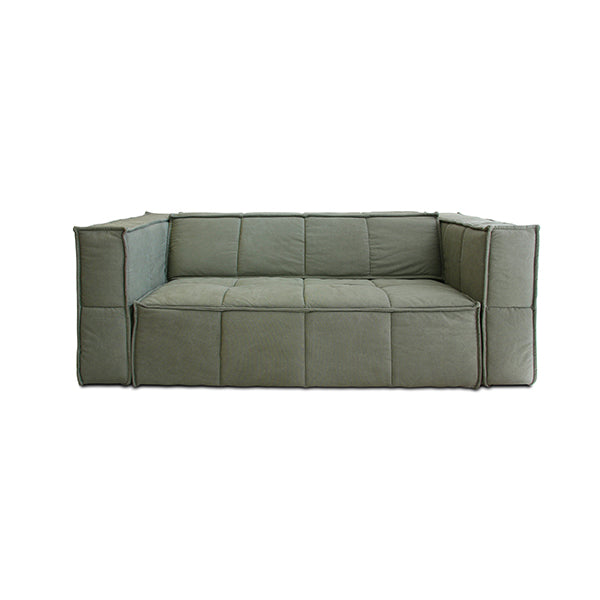 Cube Couch 3 Seats Canvas Army Green
