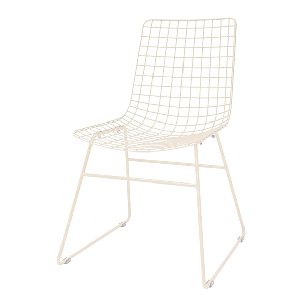 Metal wire chair creme