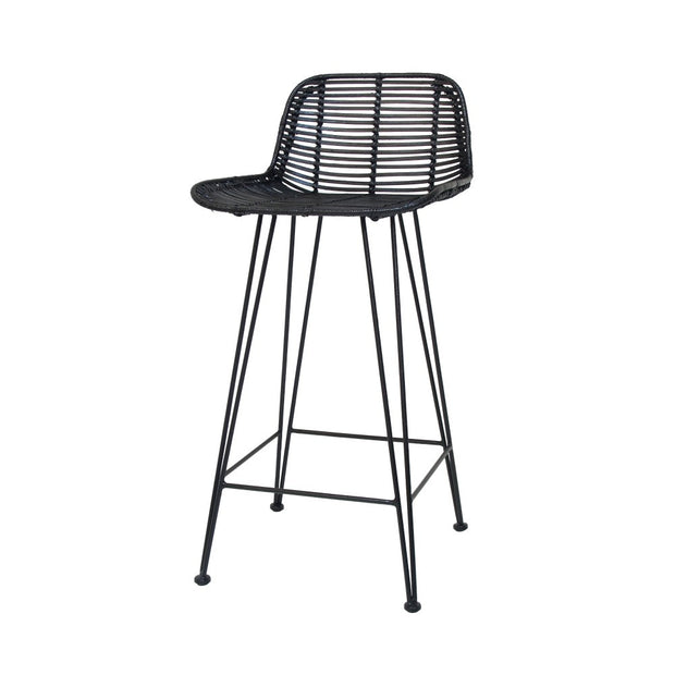 HK Living | Rattan Bar stool Black | House of Orange Melbourne