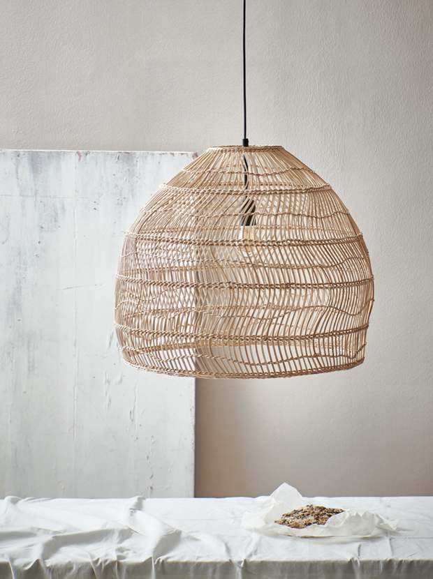 Wicker Ball Lamp Medium Natural - House of Orange