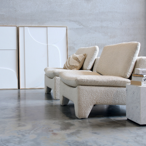 HK Living | Retro Lounge Fauteuil Boucle Cream | House of Orange Melbourne