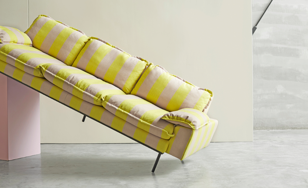 HK Living | Retro Sofa 4 Seater Striped Yellow/Nude | House of Orange Melbourne
