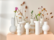 HK Living | White Speckled Clay Vase Round M | House of Orange Melbourne