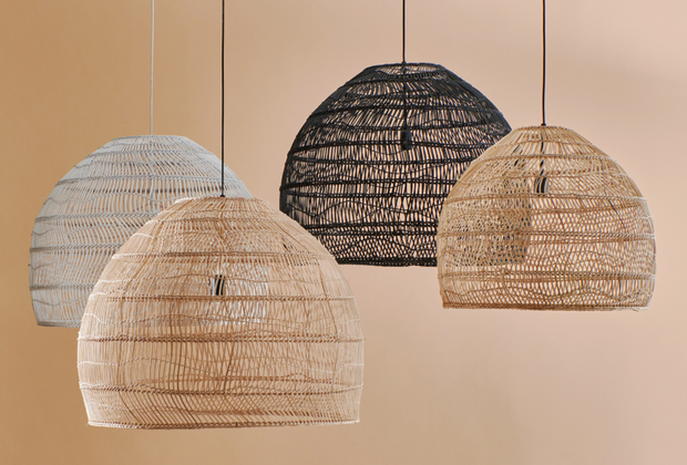 Wicker Ball Lamp Medium Black - House of Orange