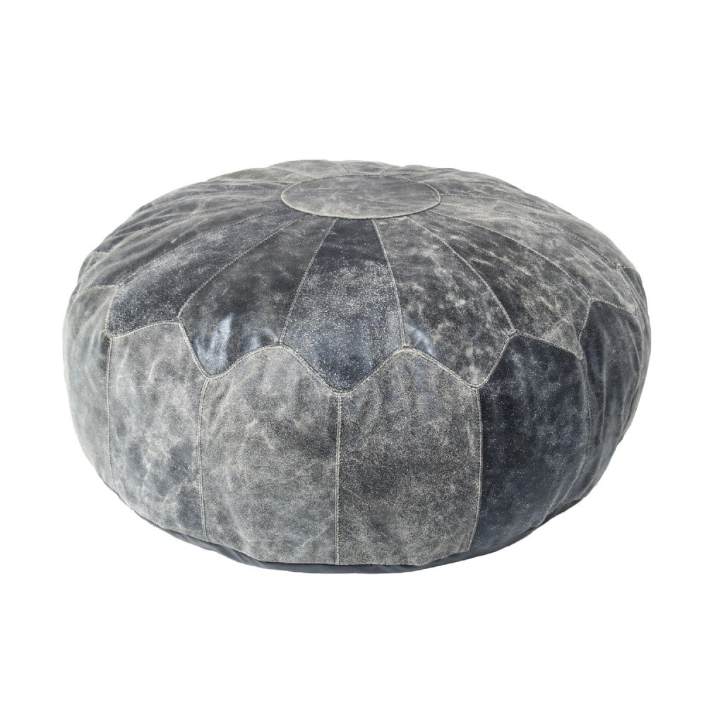 Pouf Rustic Leather XL Black