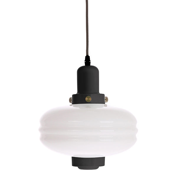 White Glass Pendant Lamp M Black