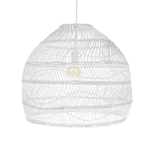 White Wicker Hanging Ball Lamp Medium