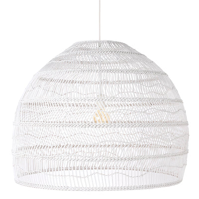 White Wicker Hanging Ball Lamp Large