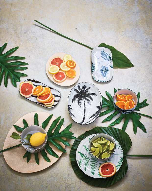 bold & basic ceramics: jungle porcelain serving bowl palms