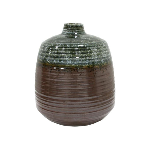 Ceramic Flower Vase Green/Brown