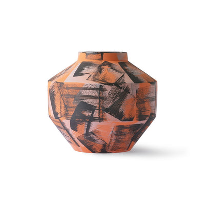 hand brushed ceramic vase orange/black