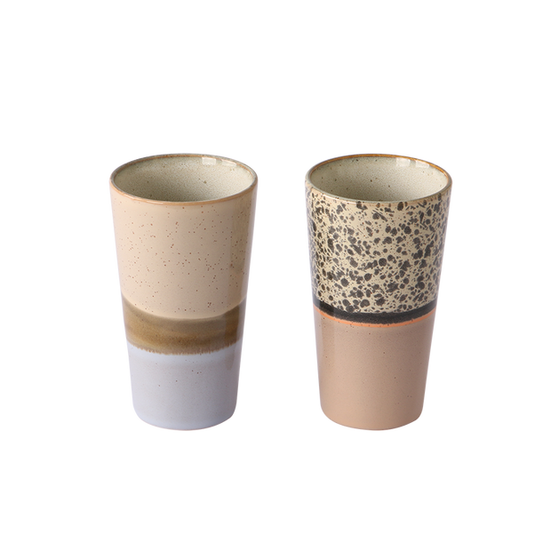 ceramic 70's latte mugs (set of 2)