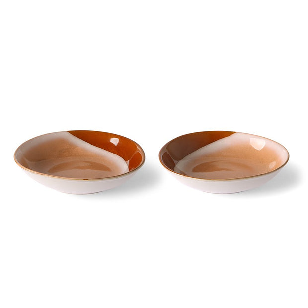 ceramic 70's curry bowls: hills (set of 2)