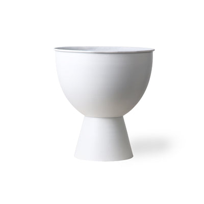 HK Living | Metal Flowerpot on Base - Rustic White M | House of Orange Melbourne