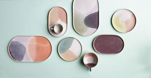 HK Living | Dinner Plate | Ceramic 80's Oval Green/Lilac | HK Living | House of Orange Melbourne