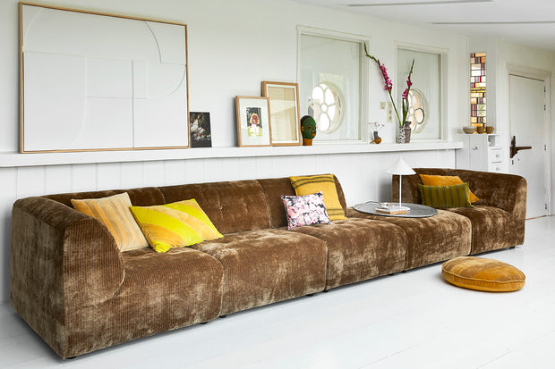 vint couch: element hocker, corduroy velvet, aged gold