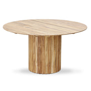 Pillar Dining Table Round Teak Natural