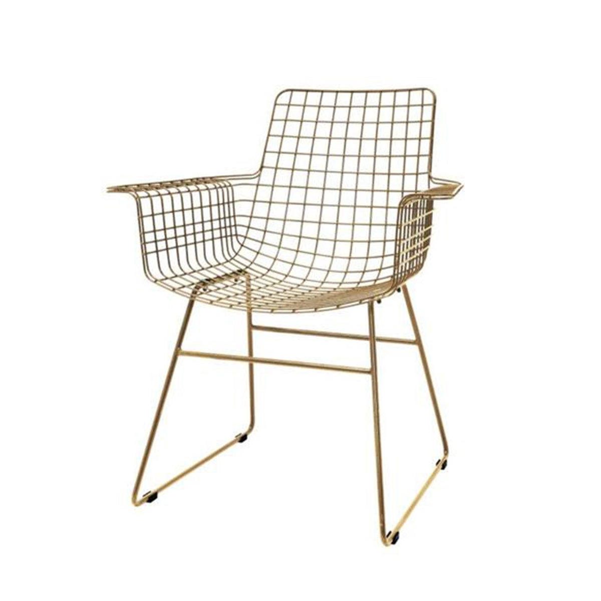 Metal Wire Chair With Arms Brass