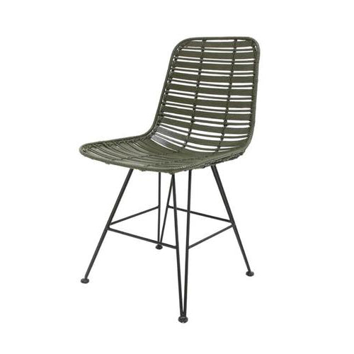 Rattan dining chair olive green hokaido