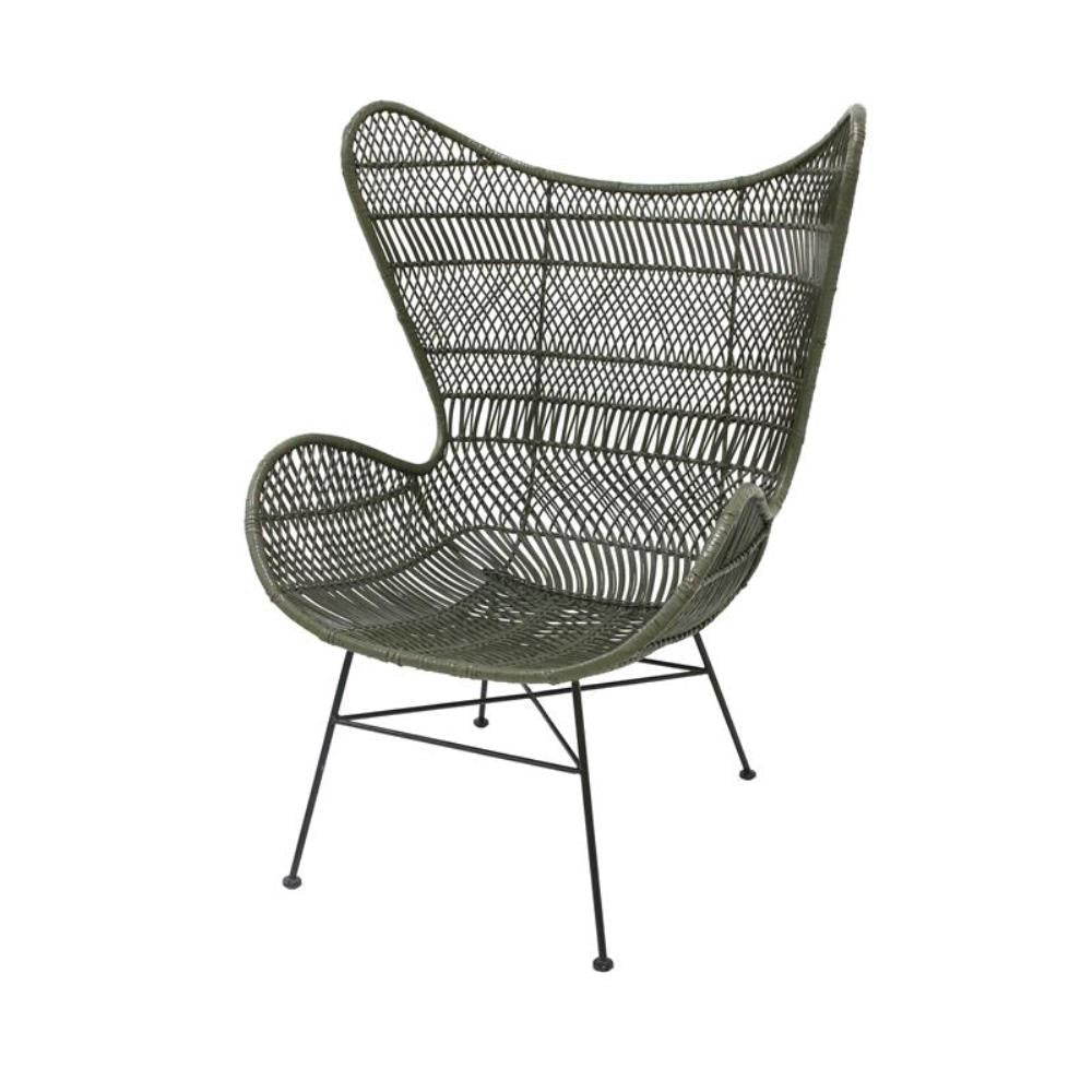 Rattan egg chair olive green bohemian