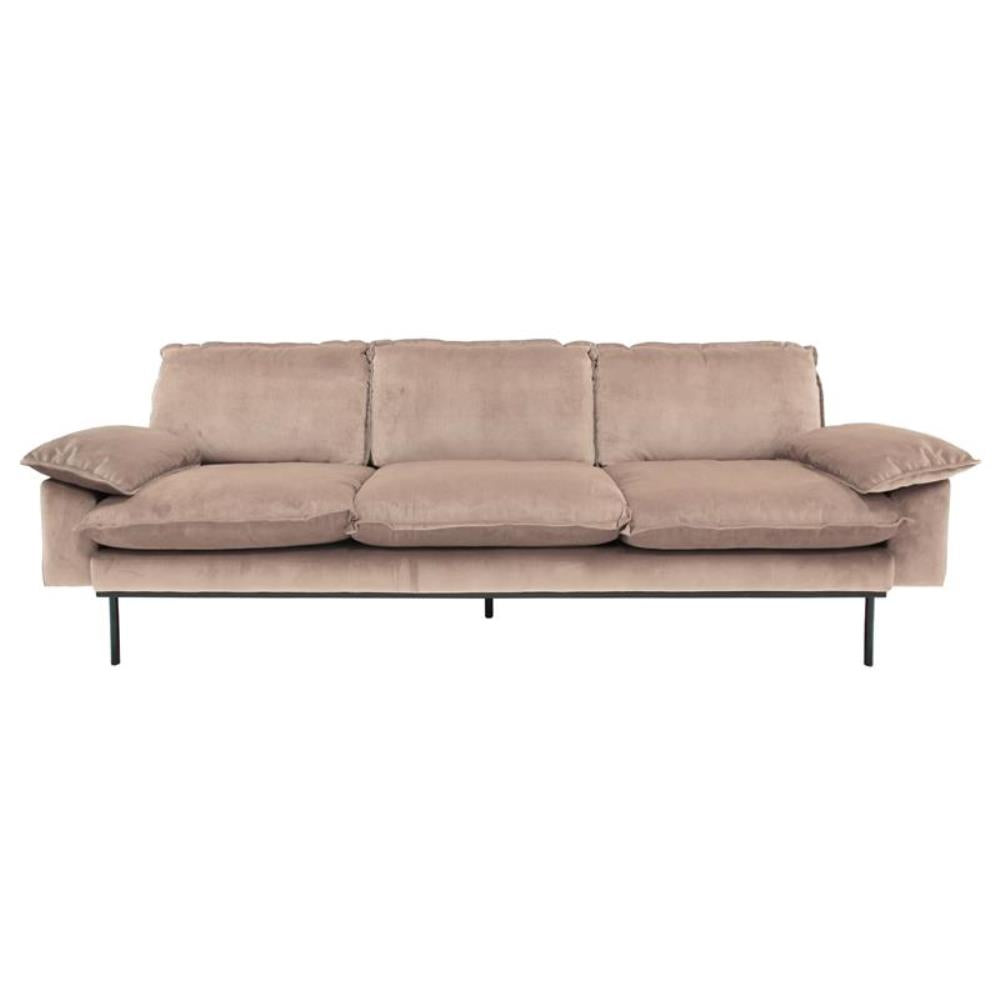 Retro sofa 3-seater Nude