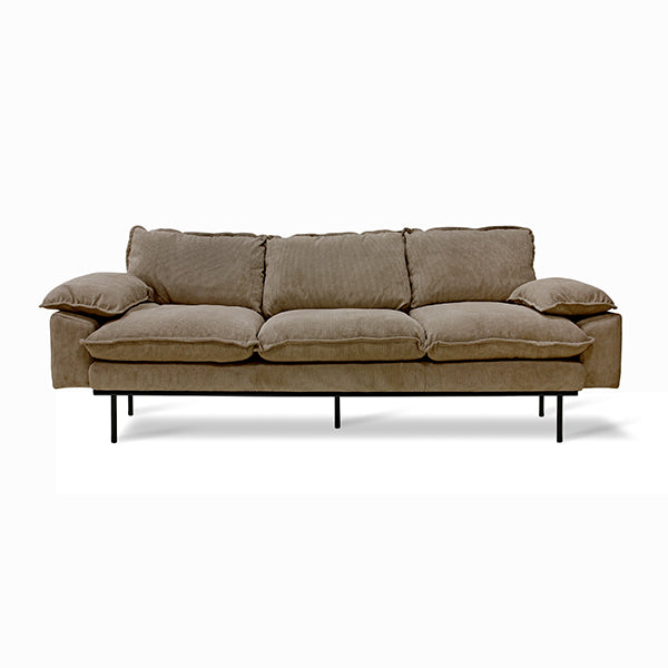Retro Sofa 3 Seats Corduroy Rib Brown