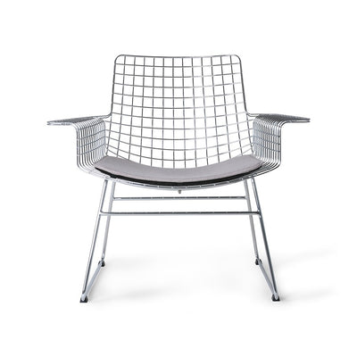 metal wire lounge chair chrome with seat cushion
