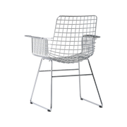 metal wire chair with arms chrome
