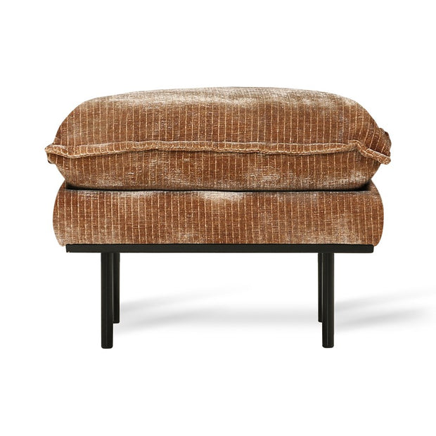 retro sofa: hocker, velvet corduroy aged gold