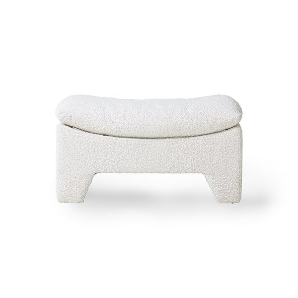 retro lounge ottoman boucle cream