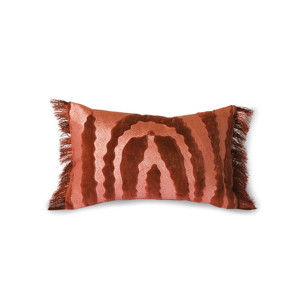 fringed velvet tiger cushion red (25x40)