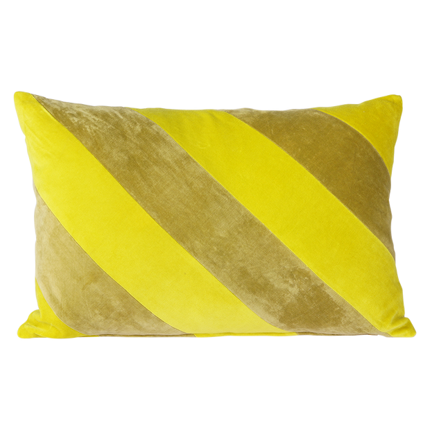 striped velvet cushion yellow/green (40x60)