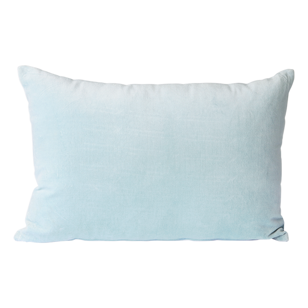 velvet cushion ice blue (40x60)