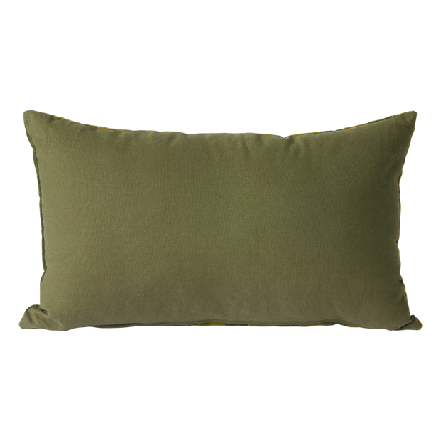 striped velvet cushion green/camo (30x50)