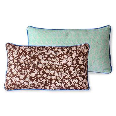 DORIS for HK: printed cushion with piping cobalt (35x60)