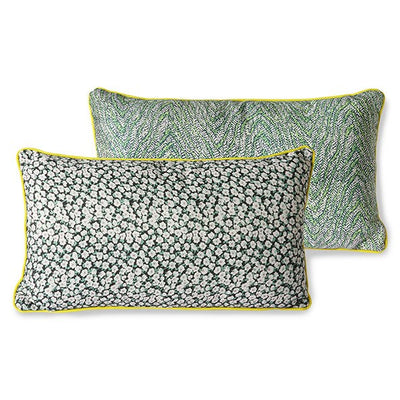 DORIS for HK: printed cushion with piping green (35x60)