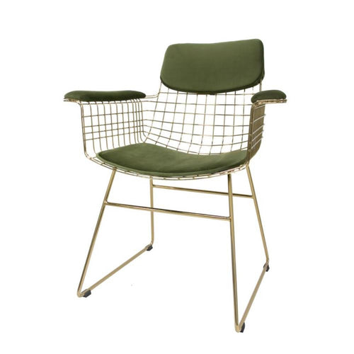 Velvet Green Comfort Kit for wire chairs with arms