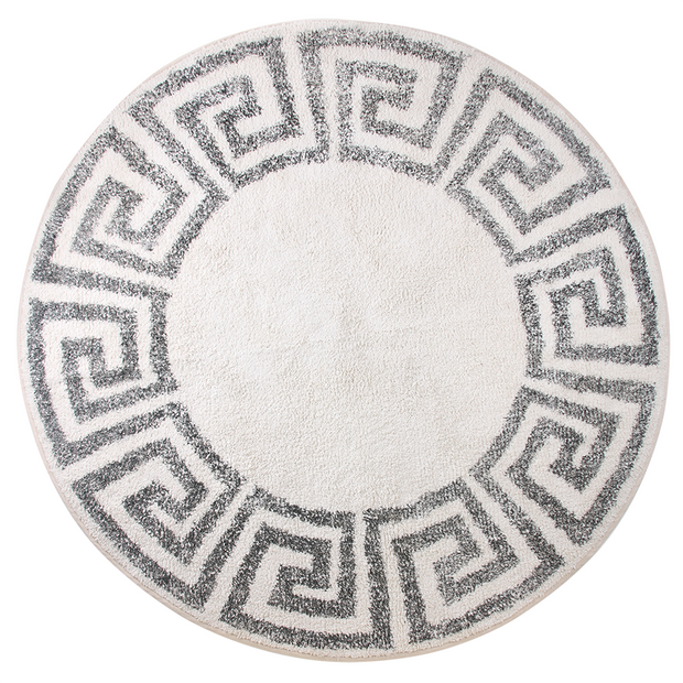 HK Living | Bath Mat | Greek Key Round 120cm White & Black | HK Living | House of Orange Melbourne