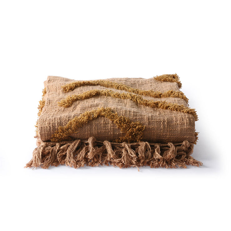 HK Living | Throw | Cotton Fringe Pattern Brown (130x170) | HK Living | House of Orange Melbourne