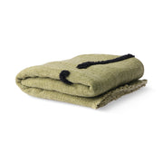 soft woven throw pistachio with black tufted lines (130x170)