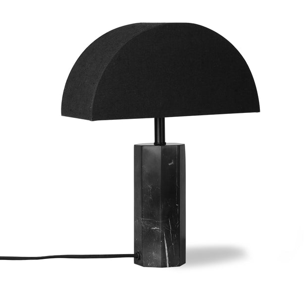 Semicircle Black Jute Table Lamp with Hexagon Black Marble base S