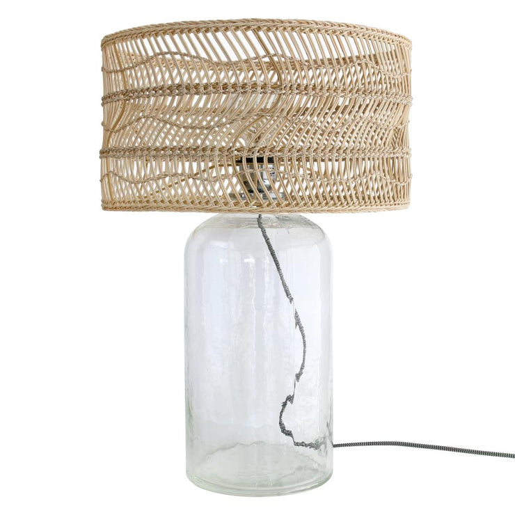 Wicker bottle lamp
