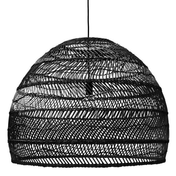 Wicker hanging lamp large black