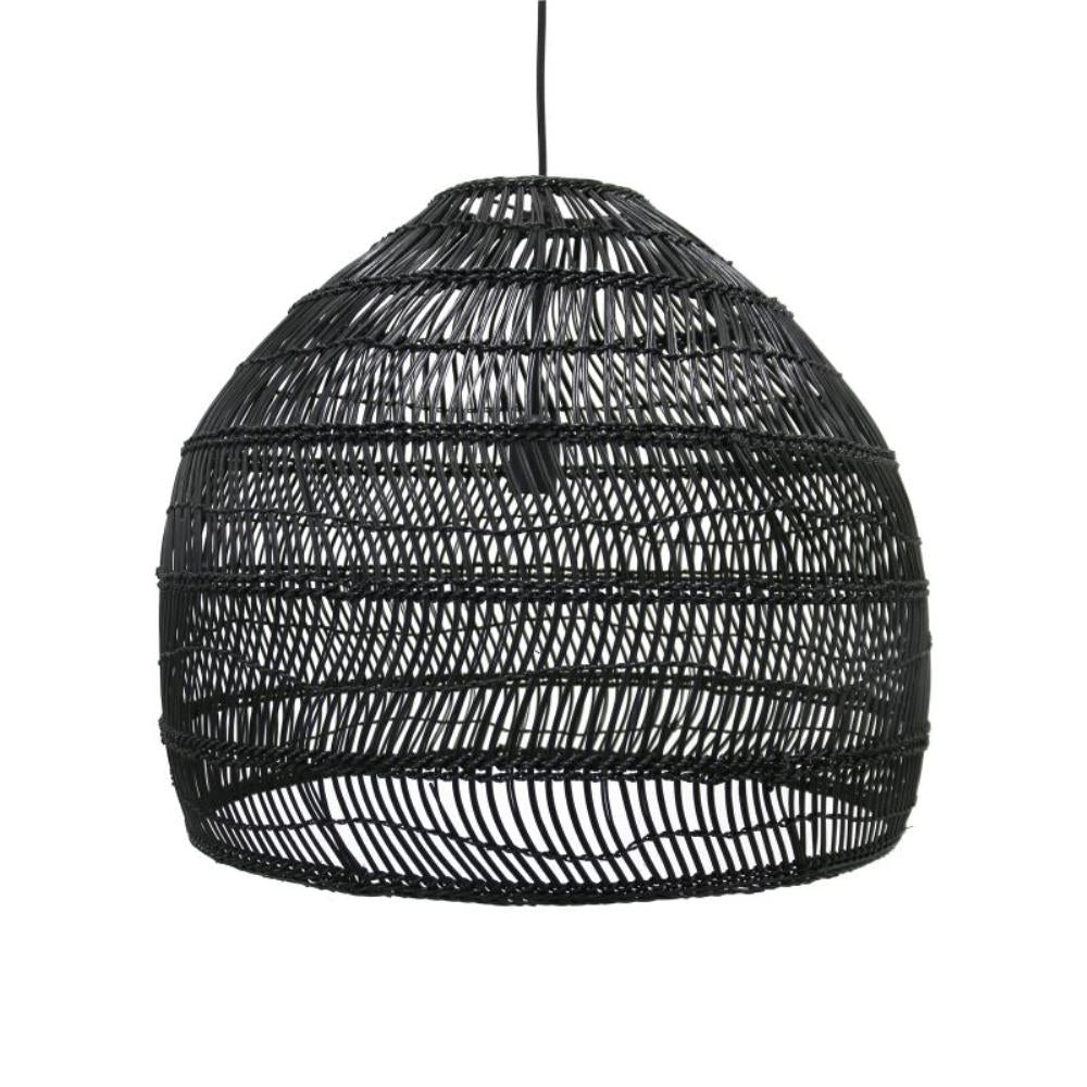 Wicker hanging lamp medium round black