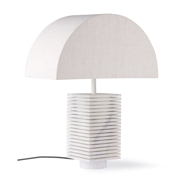 Semicircle Natural Jute Table Lamp with Ribbed White Marble base S
