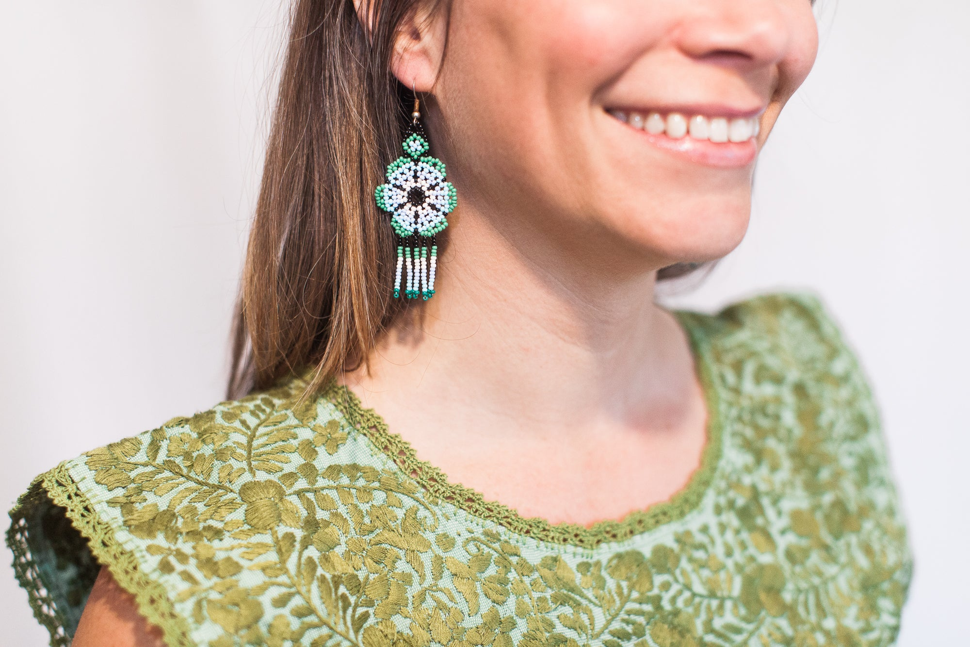 Light Blue with Green Bead Earrings