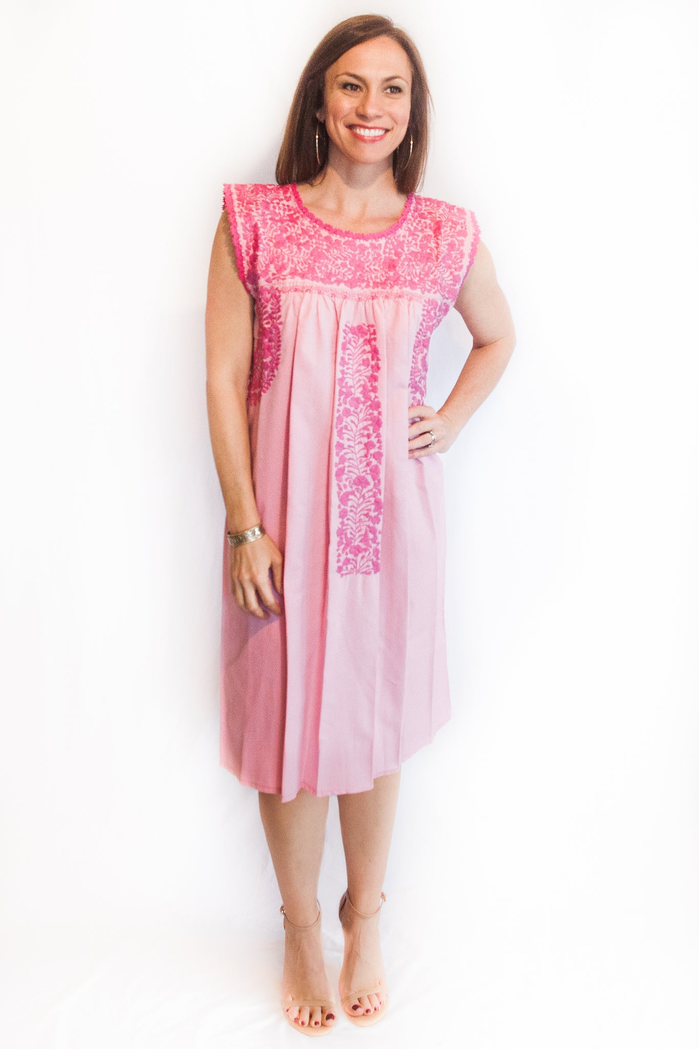 Pink Oxford with Magenta Felicia Dress-M